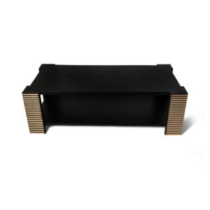 Pharo Rectangular Coffee Table Black Lacquer with Brass Strips Top View