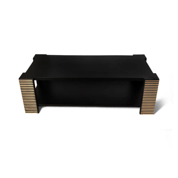 Pharo Rectangular Coffee Table Black Lacquer with Brass Strips 1