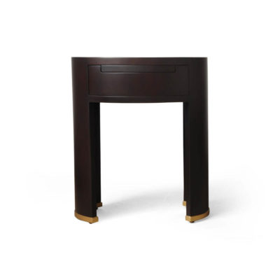 Rosa Oval Glass Top Bedside Table Front