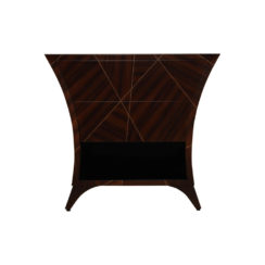 Sahco Dark Brown Curved Bedside Table with Open Shelf