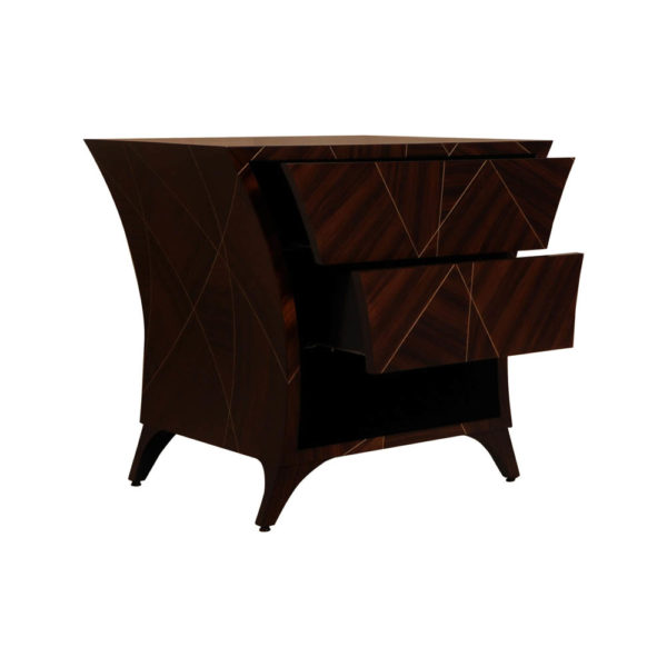 Sahco Dark Brown Curved Bedside Table with Open Shelf Open Drawers