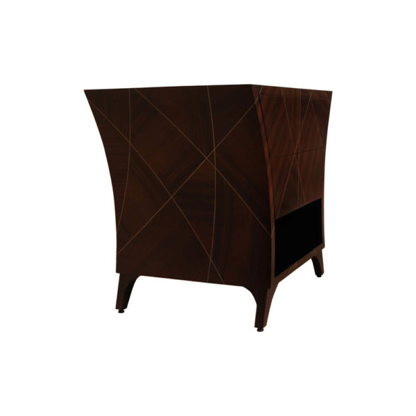 Sahco Dark Brown Curved Bedside Table with Open Shelf Right Side View