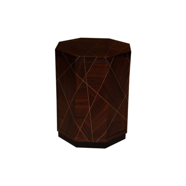 Drue Wooden Dark Brown Bedside Table