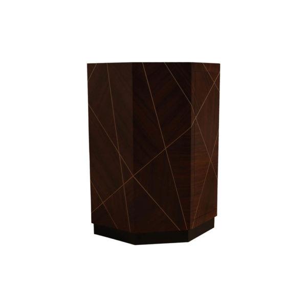 Drue Wooden Dark Brown Bedside Table Front