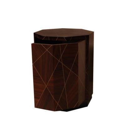 Drue Wooden Dark Brown Bedside Table Open
