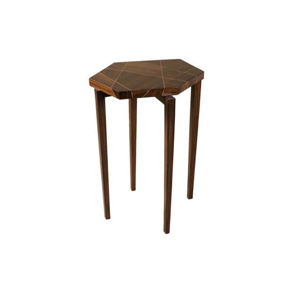 Duarte Dark Brown Hexagon Side Table