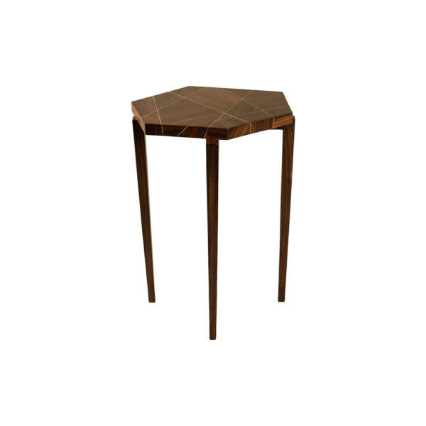 Duarte Dark Brown Hexagon Side Table Front View