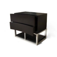 Dusk Two Drawers Wood and Stainless Steel Bedside Table Beside View