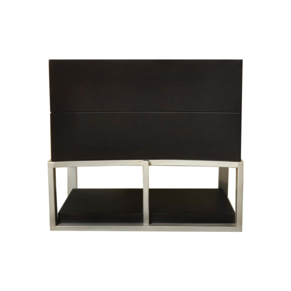 Dusk Two Drawers Wood and Stainless Steel Bedside Table Front View