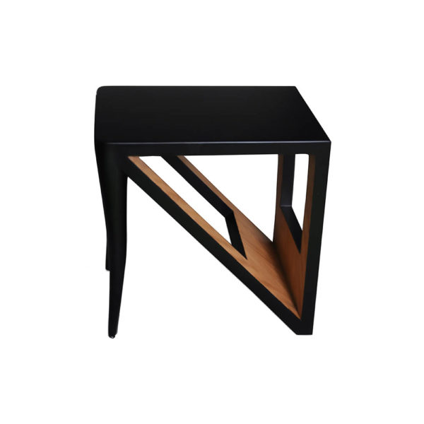 Jayden Square Black Lacquer Side Table Front View
