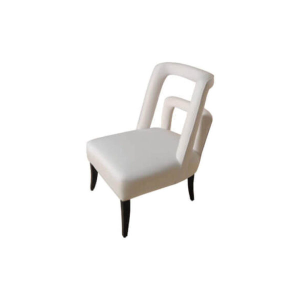 Mario Upholstered Square Armless Accent Chair Left Side View