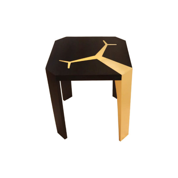 Tree Square Wood and Steel Side Table