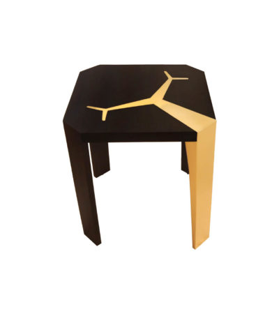 Tree Square Wood and Steel Side Table Front