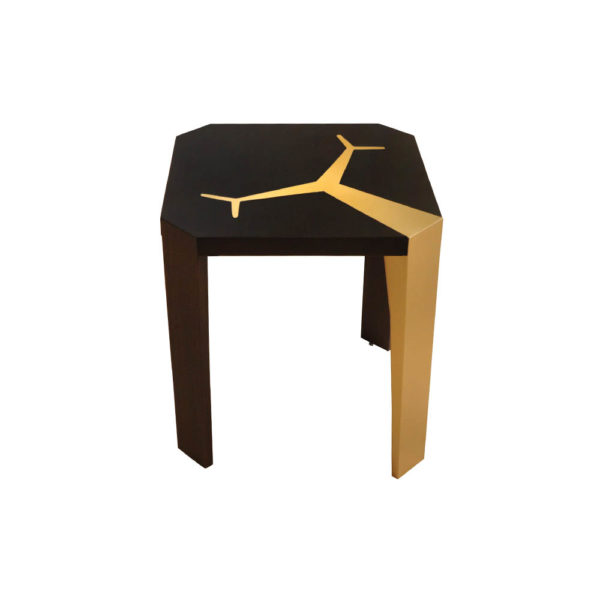Tree Square Wood and Steel Side Table Gold