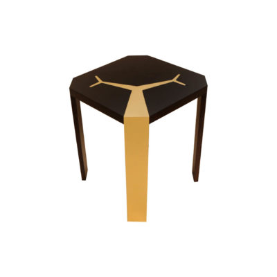 Tree Square Wood and Steel Side Table Side View