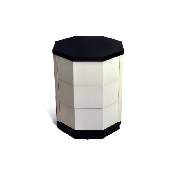 Drue Wood Dark Brown and Cream Bedside Table Front