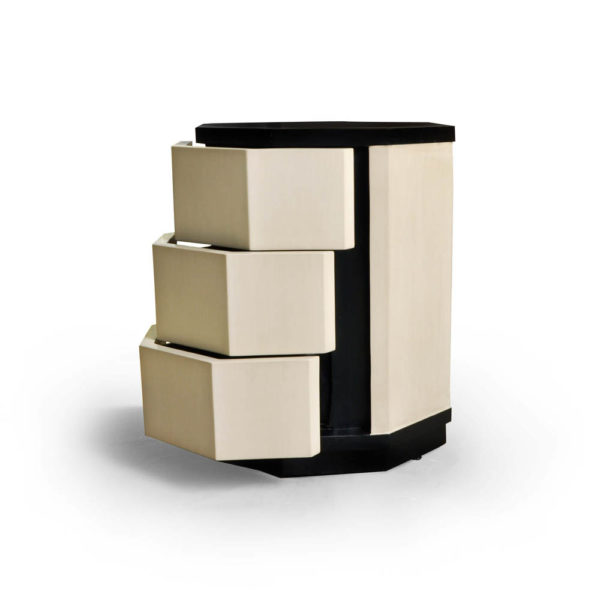 Drue Wood Dark Brown and Cream Bedside Table Open Drawers