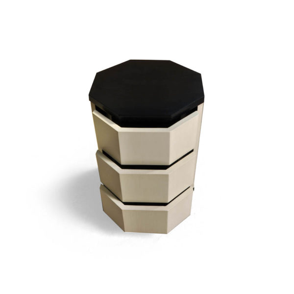 Drue Wood Dark Brown and Cream Bedside Table Top Side View