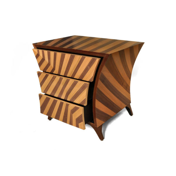Sahco Curved Brown and Beige Bedside Table Beside View