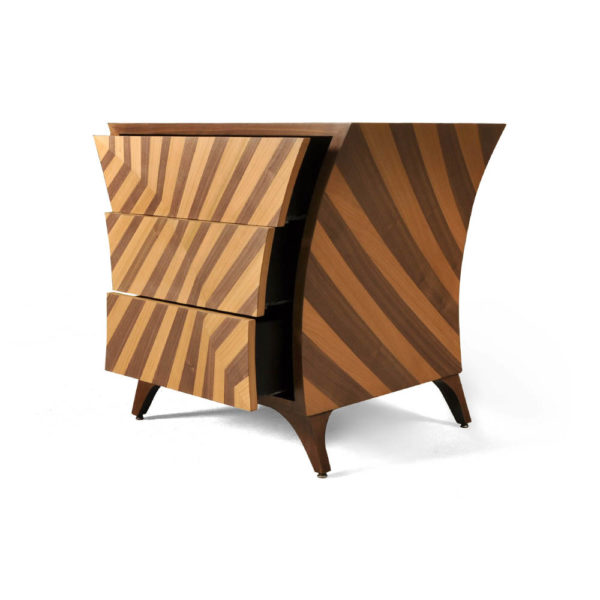 Sahco Curved Brown and Beige Bedside Table Open Drawers