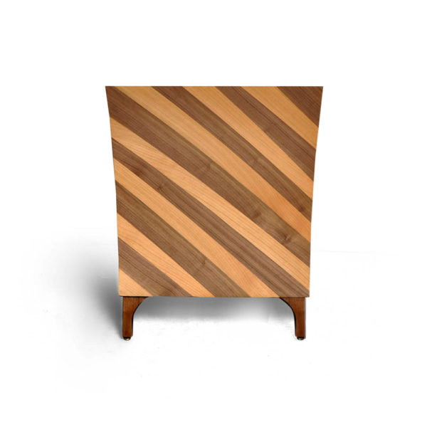 Sahco Curved Brown and Beige Bedside Table Side View