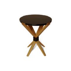 BonBon Dark Brown and Gold Cross Leg Round Side Table
