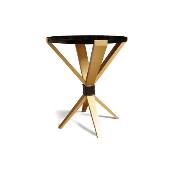 BonBon Dark Brown and Gold Cross Leg Round Side Table Front