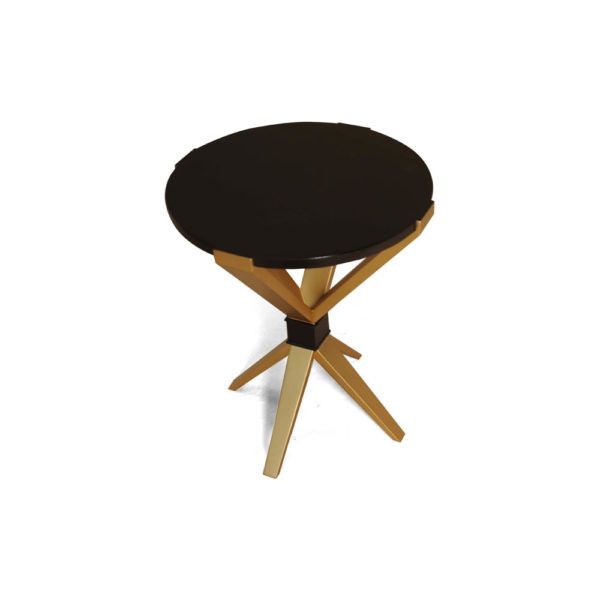 BonBon Dark Brown and Gold Cross Leg Round Side Table Top View