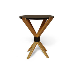 BonBon Dark Brown and Gold Cross Leg Round Side Table View
