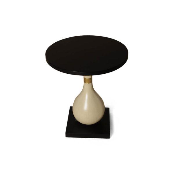 Cinnabar Circular Cream and Black Brown Side Table Top View