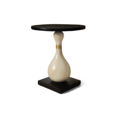 Cinnabar Circular Cream and Black Brown Side Table View