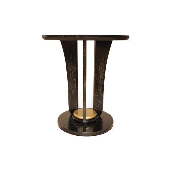 Fido Black Wooden Distressed Side Table Gold