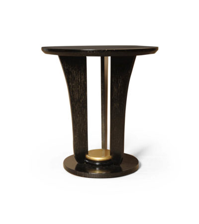 Fido Black Wooden Distressed Side Table with Gold