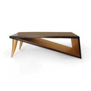 Jayden Brown Wooden Coffee Table with Golden Legs