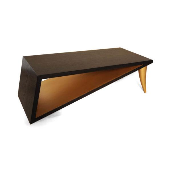 Jayden Brown Wooden Coffee Table with Golden Legs Beside View