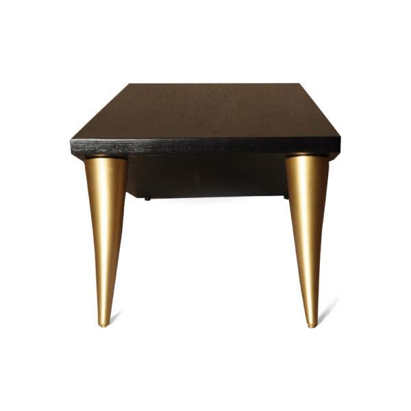 Jayden Brown Wooden Coffee Table with Golden Legs Left View
