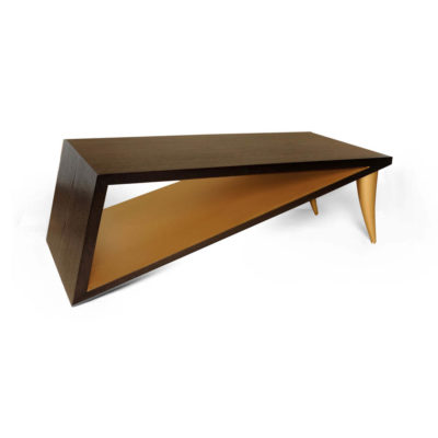 Jayden Brown Wooden Coffee Table with Golden Legs View