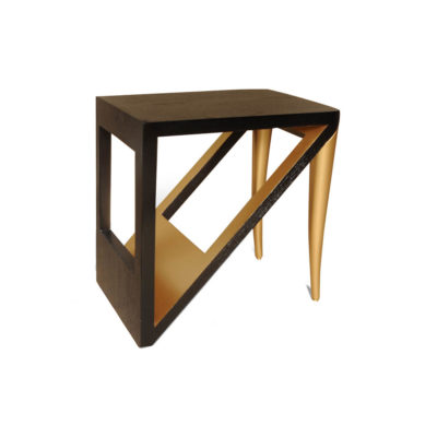 Jayden Dark Brown Square Side Table with Golden Legs