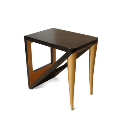 Jayden Dark Brown Square Side Table with Golden Legs Beside View