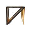 Jayden Dark Brown Square Side Table with Golden Legs 4