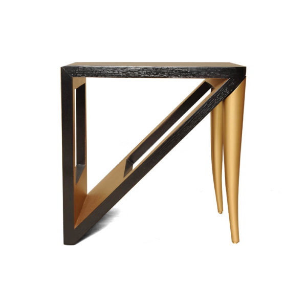 Jayden Dark Brown Square Side Table with Golden Legs Front