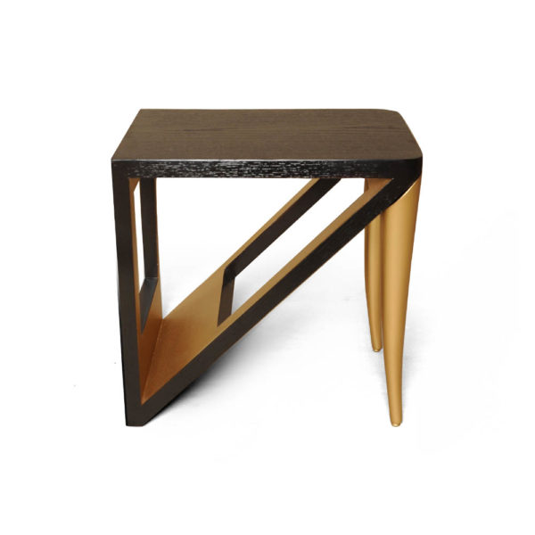 Jayden Dark Brown Square Side Table with Golden Legs Front View