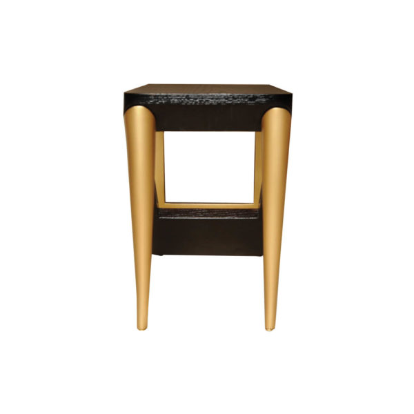 Jayden Dark Brown Square Side Table with Golden Legs Left Side View