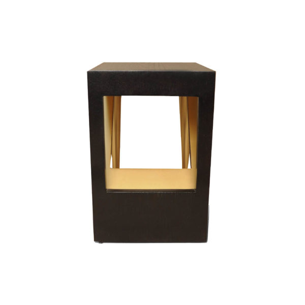 Jayden Dark Brown Square Side Table with Golden Legs Right Side View