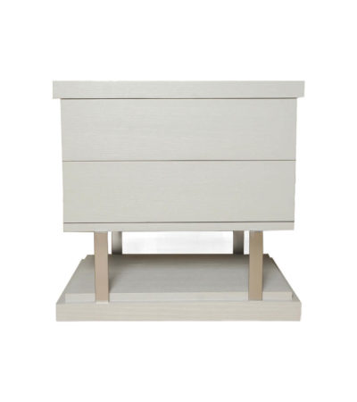 Max Light Grey Bedside Table with Stainless Steel