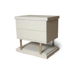 Max Light Grey Bedside Table with Stainless Steel Beside View