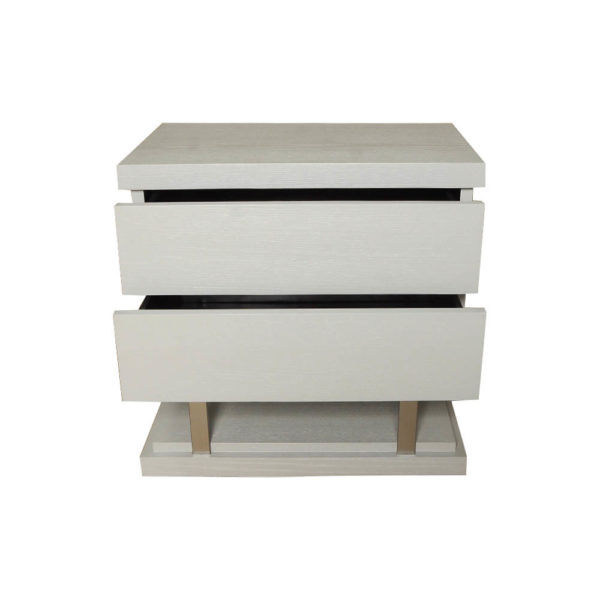 Max Light Grey Bedside Table with Stainless Steel Front View