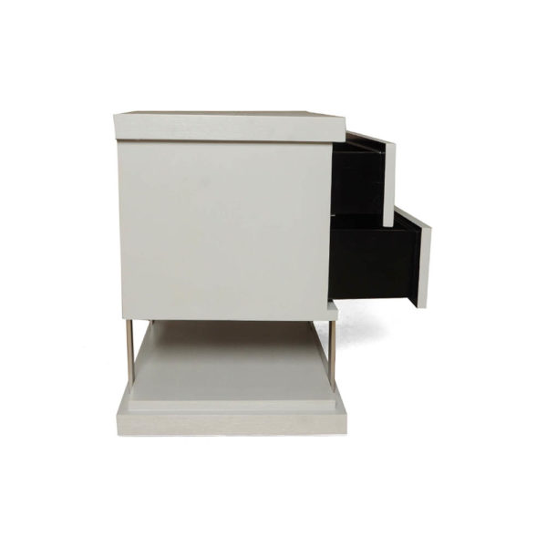Max Light Grey Bedside Table with Stainless Steel Open Drawers