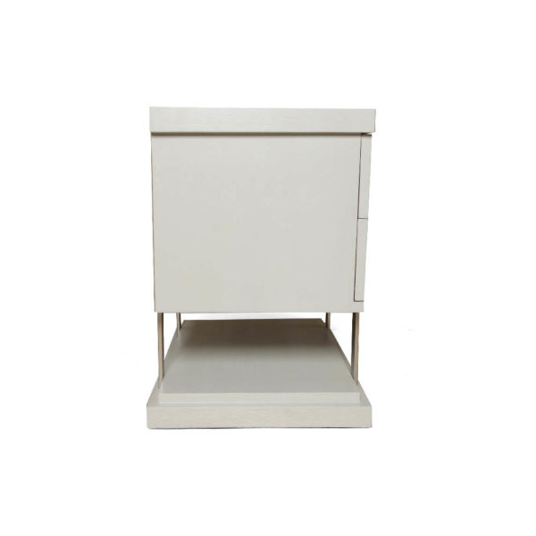 Max Light Grey Bedside Table with Stainless Steel Right