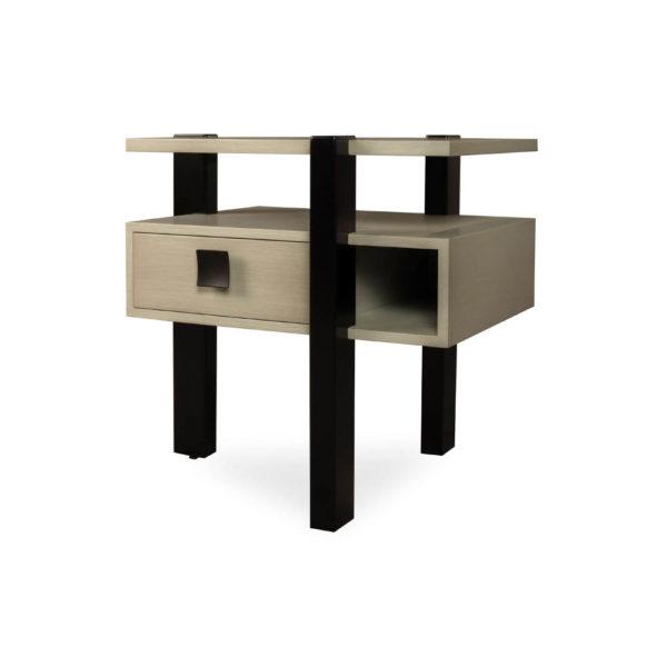 Slava Black and Grey Gloss Bedside Table